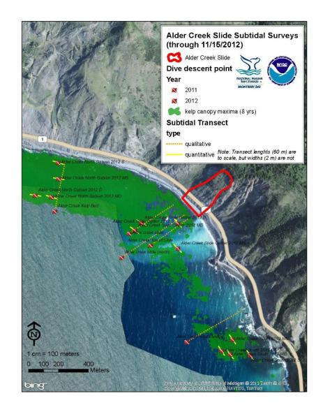Alder Creek slide subtidal surveys (through 11/15/2012)