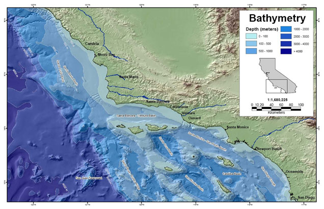 Bathymetric features of Southern CA