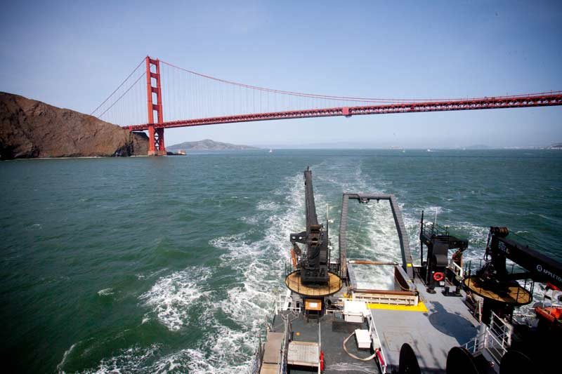 Exiting San Francisco Bay under the Golden Gate bridge is a fine way to start a research expedition!