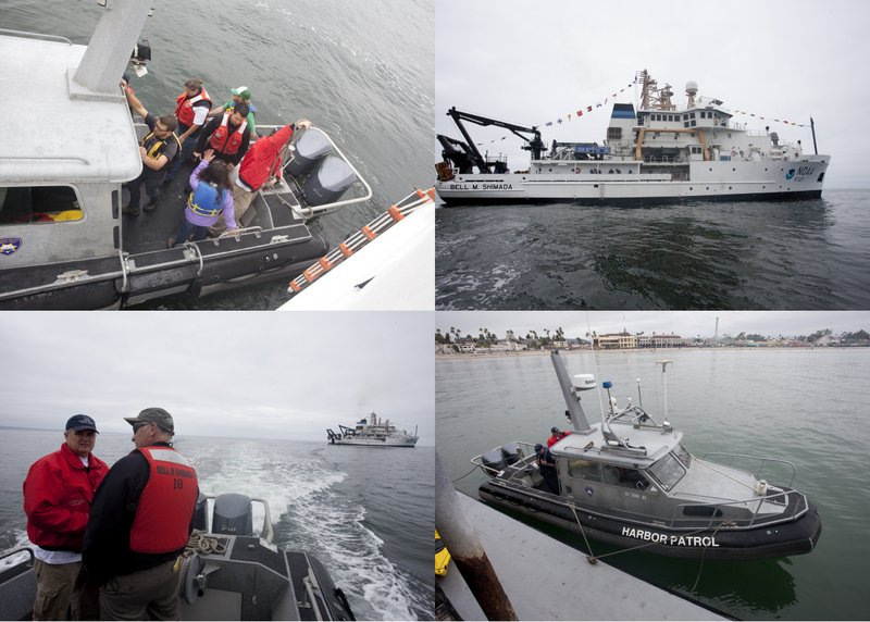 Clockwise from upper left: Leg 1 scientists depart the Shimada via SC Harbor Patrol boat; view of the Shimada from the water; SC harbor patrol boat docking with floating dock on Santa Cruz wharf; motoring away from the Shimada (photos by Chad King)