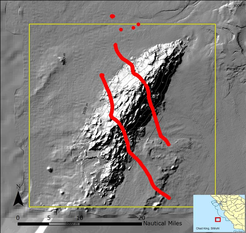 The two red lines represent the drift tracks of two hydrophones over a period of two days. They were deployed to the northwest of the Davidson Seamount and retrieved to the southeast. (data courtesy of David Cade, Stanford)