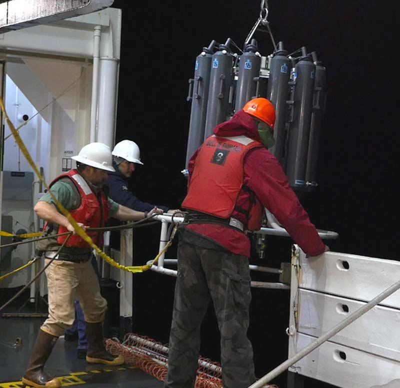 Shimada crew deploy a CTD on 5/8/15. (Photo by Paul Chetirkin).